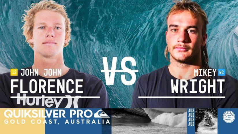 John John Florence vs. Mikey Wright Round Two Heat 1 Quiksilver Pro Gold Coast 2018