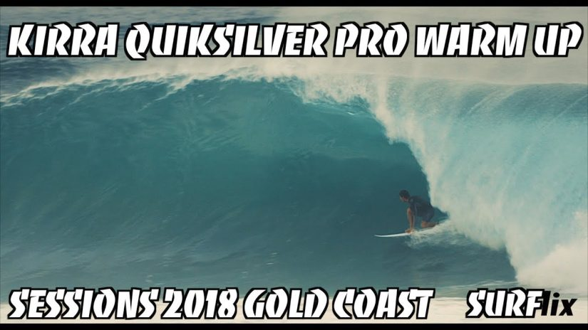 KIRRA PUMPS DAWN WARM UP WSL QUIKSILVER PRO 2018 SURFING GOLD COAST EX CYCLONE LINDA AUSTRALIA