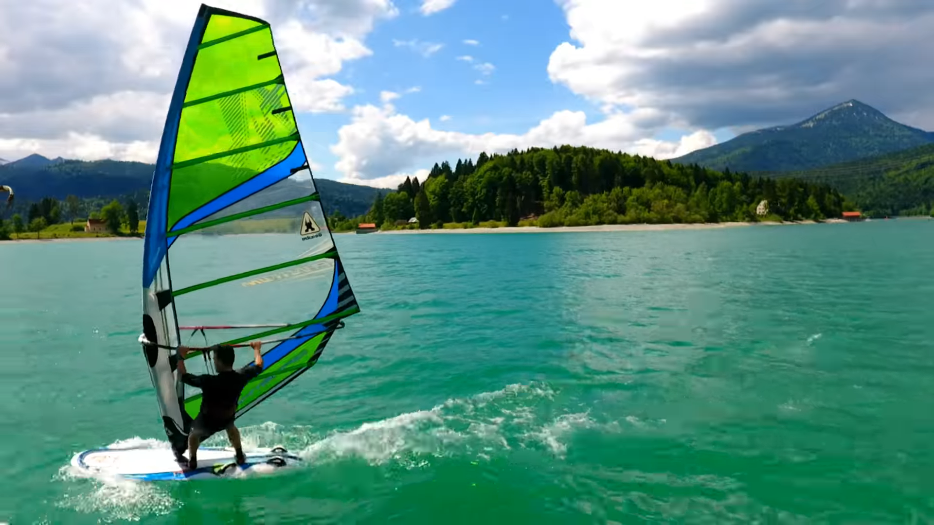 Fun and Relax Windsurfing in Walchensee. Drone Shots