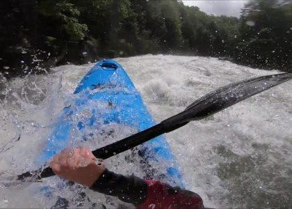 Kayaking down a flooded river Puesco river at insane flows highest descent